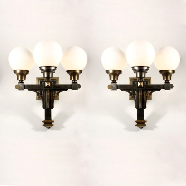 Large Pair of Antique Three-Arm Sconces with Glass Shades