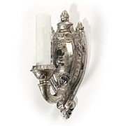 Antique Single-Arm Adam Style Sconce, Silver Plated Pewter, by Empire