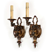 Fascinating Pair of Antique Single-Arm Polychrome Sconces with Flower