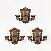 Antique Double-Arm Spanish Revival Figural Sconce with Knights, Signed Riddle Co.
