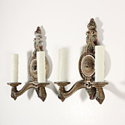 Handsome Antique Double-Arm Sconces with Original Polychrome, c. 1930's