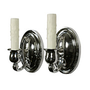 Streamlined Pair of Antique Chrome Sconces, c. 1930