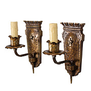 Fantastic Pair of Antique Spanish Revival Single-Arm Sconces, Bronze