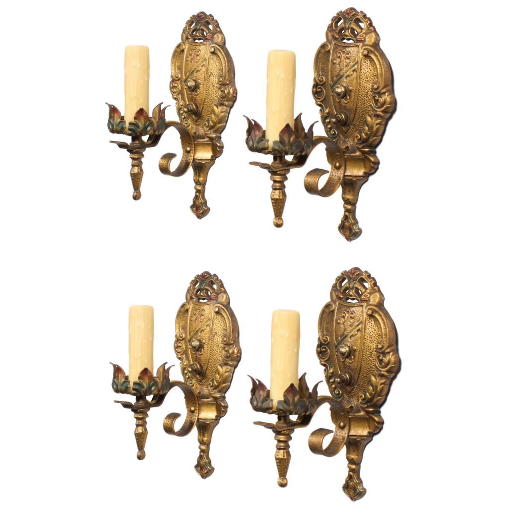 Antique Spanish Revival Sconces with Fleur-De-Lis, THREE PAIRS AVAILABLE