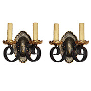 Fabulous Pair of Antique Double-Arm Brass Sconces, Early 1900's