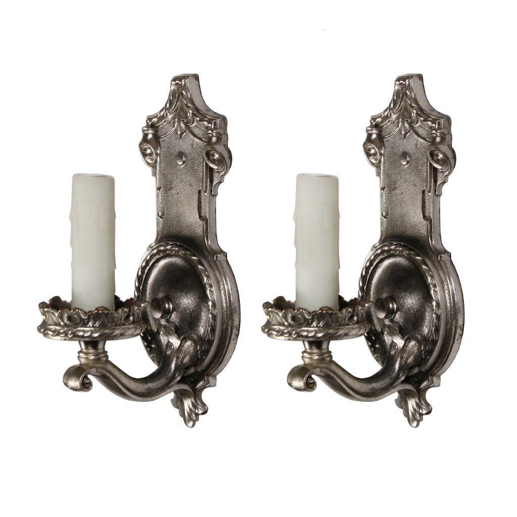 Stunning Pair of Antique Single-Arm Sconces by Empire, Silver Plate over Pewter