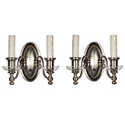 Marvelous Pair of Antique Double-Arm Silver Plated Sconces