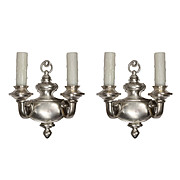 Stunning Pair of Antique Adam Style Double-Arm Sconces, Silver Plate