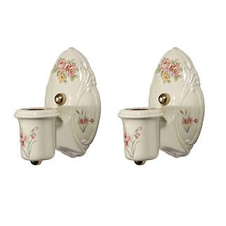 Wonderful Pair of Antique White Porcelain Sconces, Painted Flowers