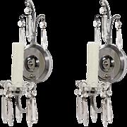 Elegant Pair of Antique Single-Arm Art Deco Sconces with Original Prisms