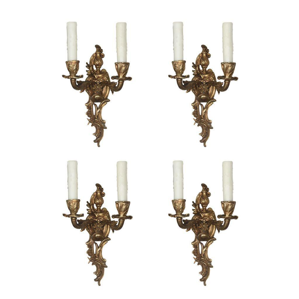 Gorgeous Pairs of Antique Georgian Double-Arm Cast Bronze Sconces