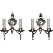 Lovely Pair of Antique Double-Arm Sconces by Lightolier, Silver Plate