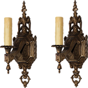 Elegant Pair of Antique Neoclassical Single-Arm Sconces