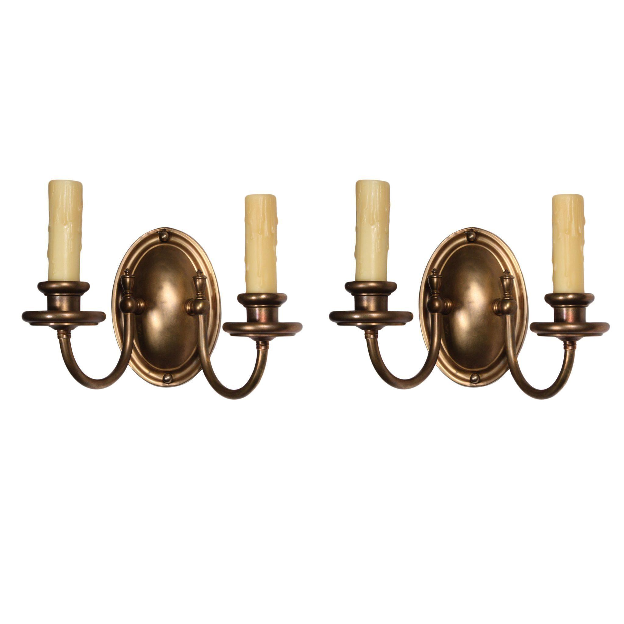 Understated Pair of Antique Two Arm Brass Sconces, Colonial Revival