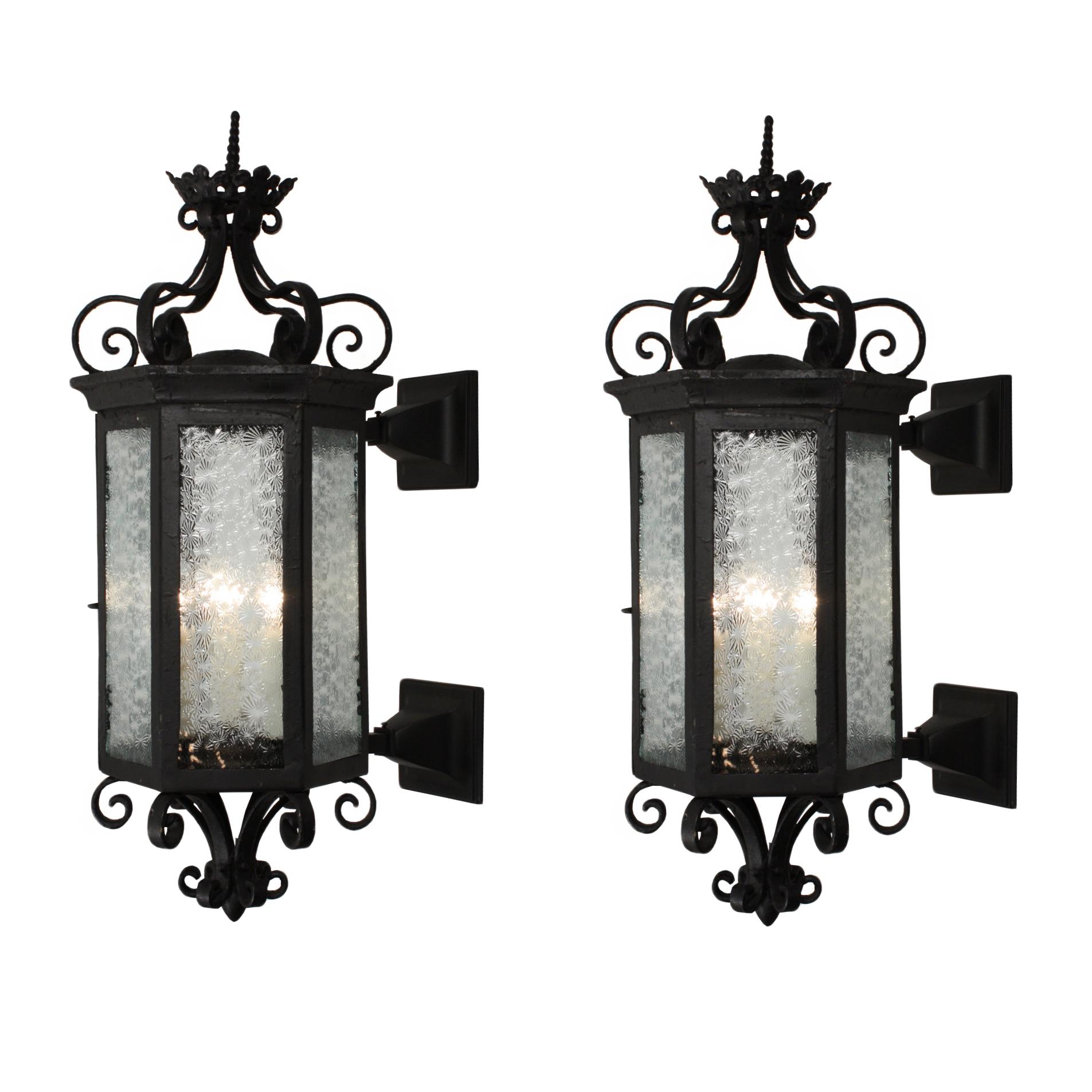 Substantial Pair of Antique Iron Exterior Lantern Sconces