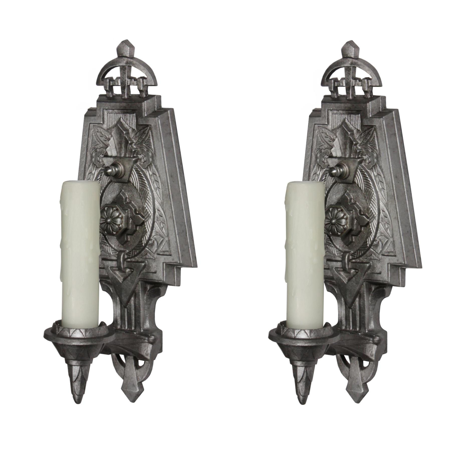 Fabulous Pair of Antique Art Deco Single-Arm Sconces by Lincoln