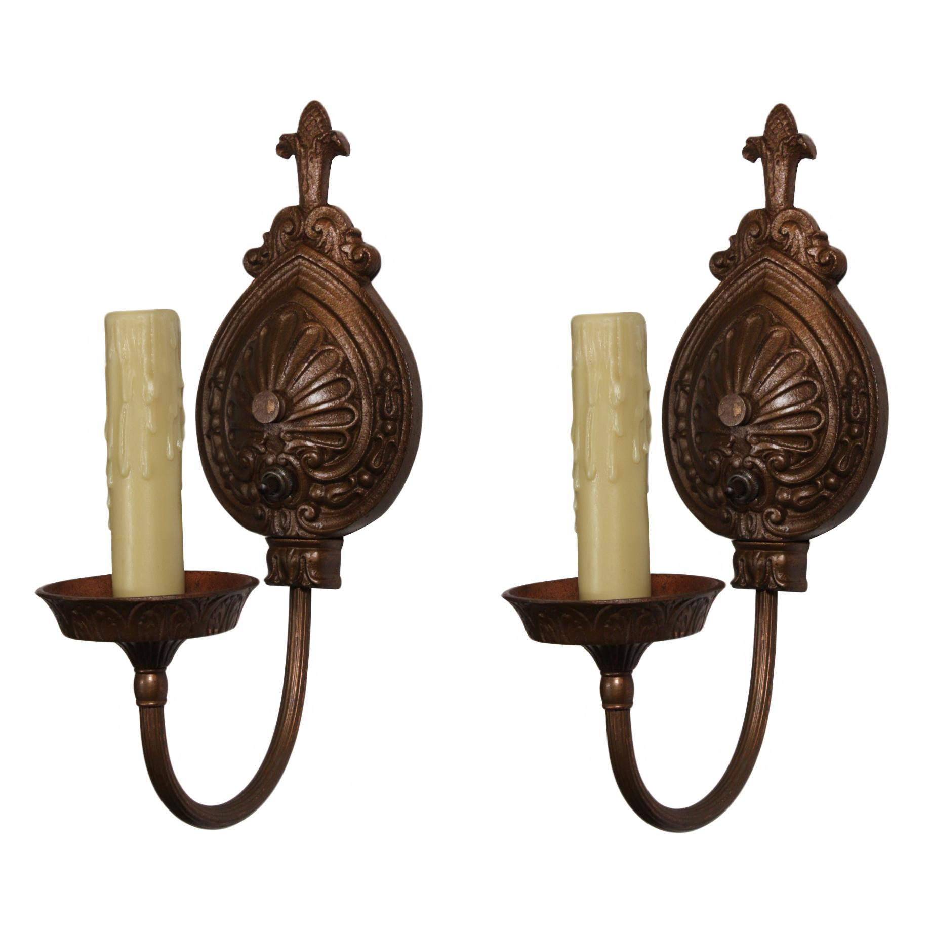 Marvelous Pair of Cast Iron Sconces by Moe Bridges