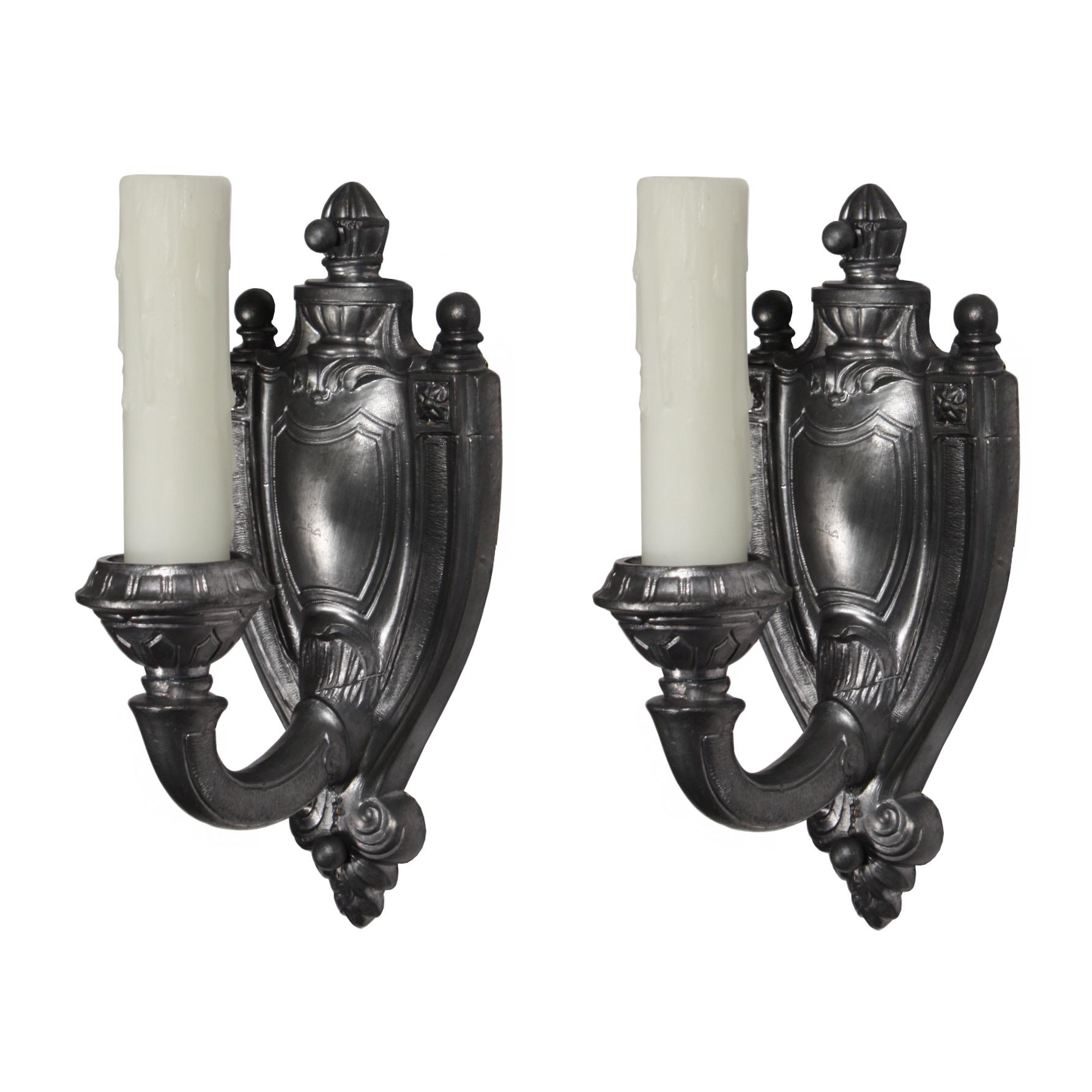 Elegant Pair of Antique Single-Arm Adam Style Sconces in Pewter