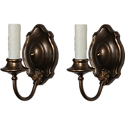 Delightful Pair of Antique Brass Single-Arm Sconces