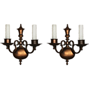 Handsome Pair of Antique Cast Bronze Sconces by Bradley & Hubbard