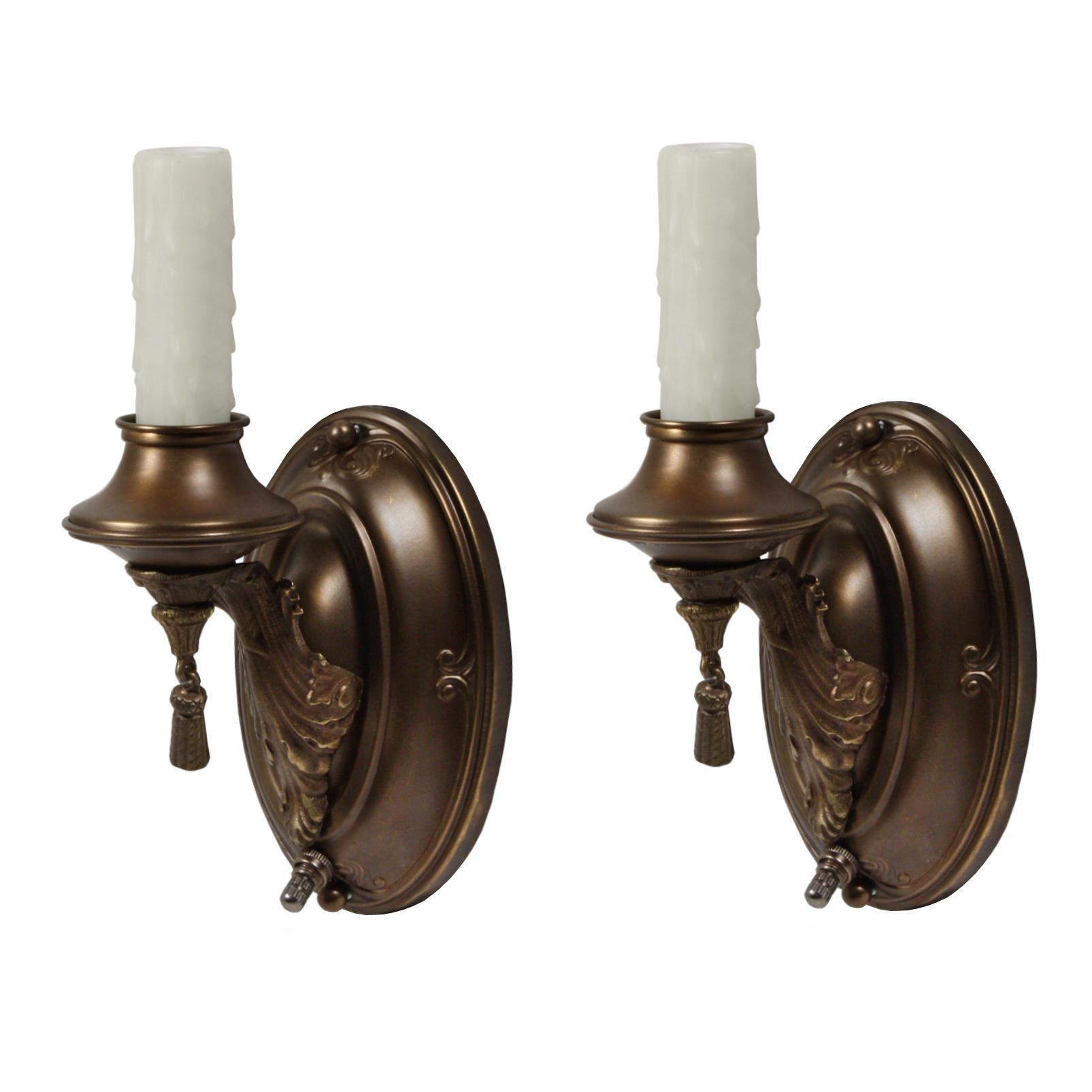 Marvelous Pair of Antique Brass Neoclassical One Arm Sconces, c. 1920