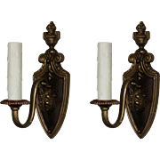 Handsome Antique Pair of Neoclassical Single Arm Sconces, Early 1900s