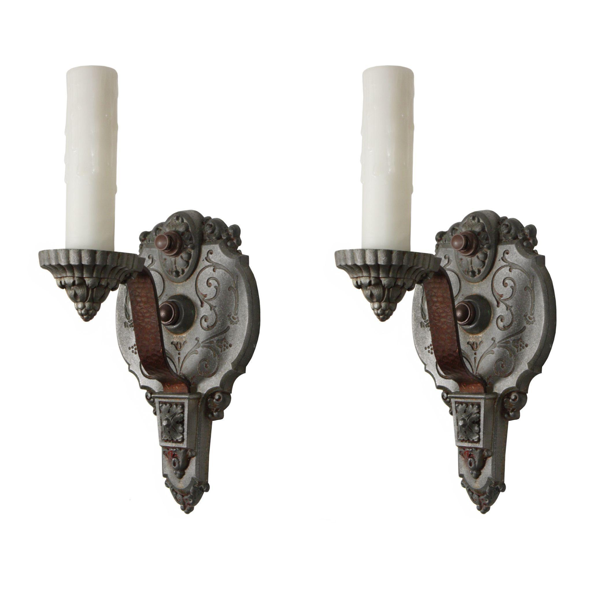 Charming Pair of Antique Single-Arm Sconces, Signed Riddle Co.