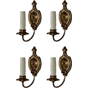 Elegant Pairs of Antique Brass Colonial Revival Sconces, Early 1900s