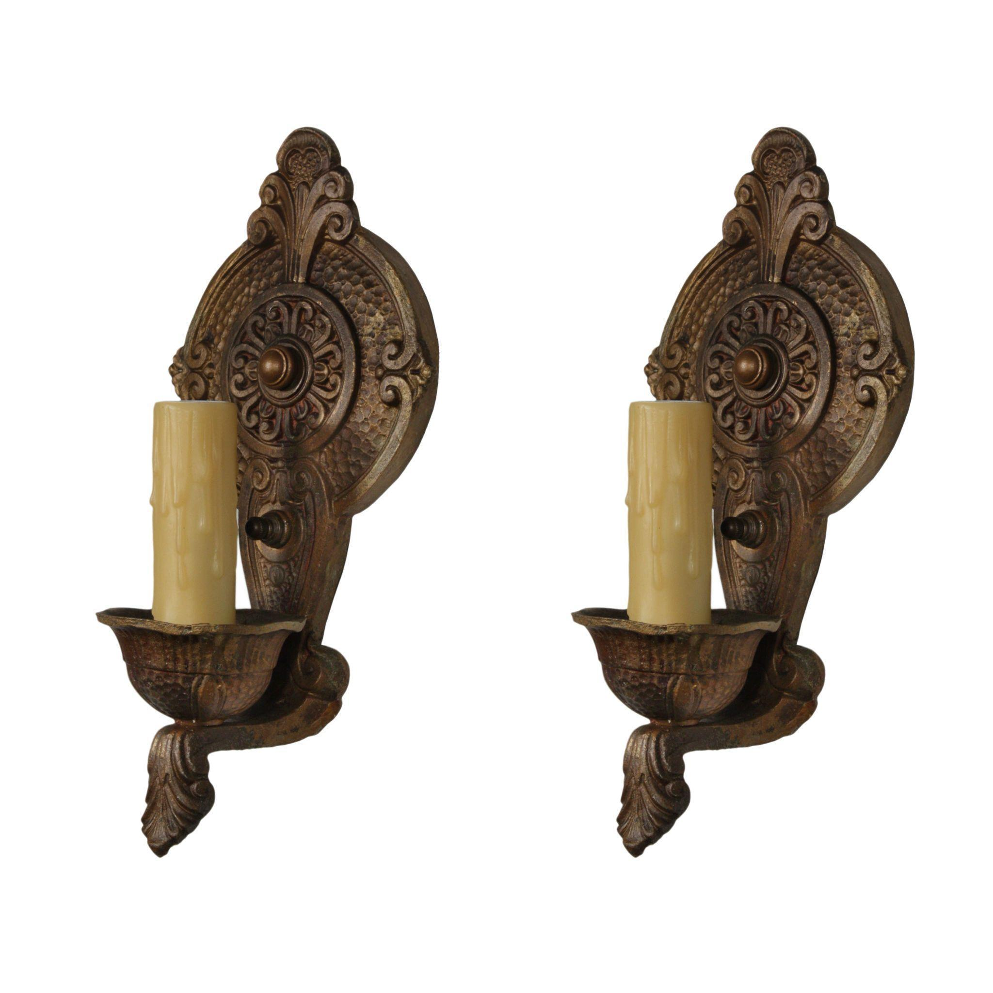 Marvelous Pair of Antique Single-Arm Sconces by Lincoln, Early 1900s
