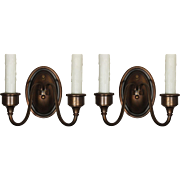 Handsome Pair of Antique Brass Sconces, Colonial Revival