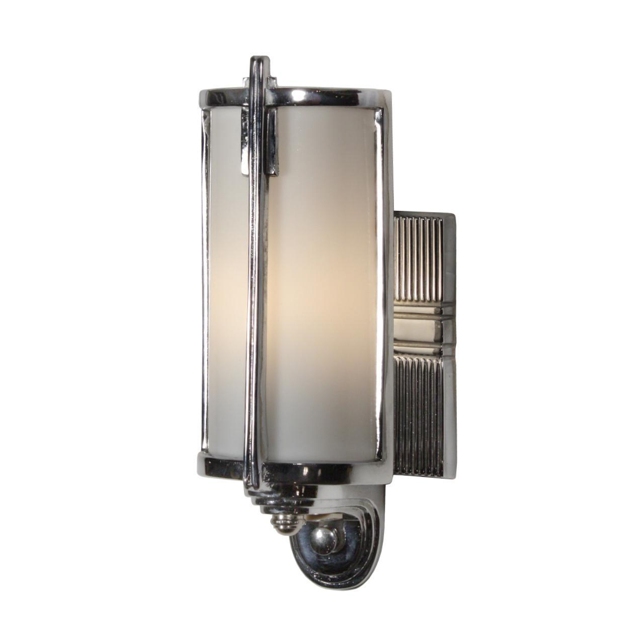 Unusual Antique Art Deco Sconce, Chrome