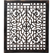 """Antique Cast Iron Air Return Register With 20"""" x 24"""" Inside Opening"""