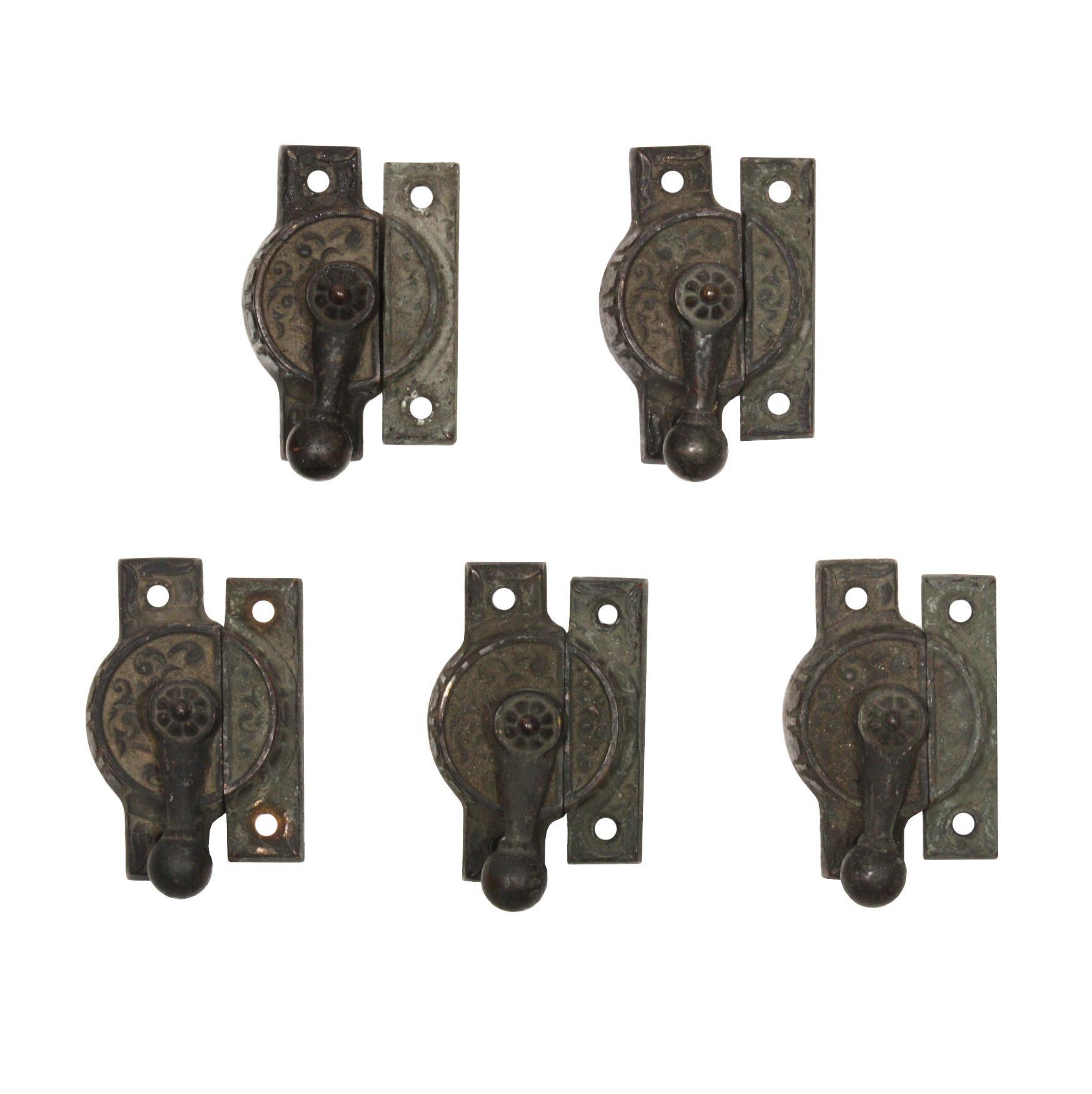 Antique Eastlake Cast Iron Window Locks, c. 1880s