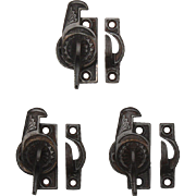 Antique Cast Iron Eastlake Window Locks, c. 1880's