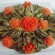 Early Vintage CELLULOID Roses Sash Pin Brooch