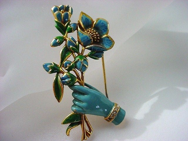 1940's CORO  ADOLPH KATZ Figural Enameled Hand with Floral Bouquet