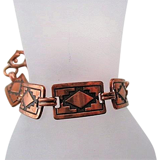 Vintage Native American Indian Copper Panel link bracelet