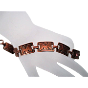 Vintage Native American THUNDERBIRD Copper Link Bracelet
