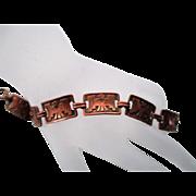 Vintage Native American THUNDERBIRD Copper Link Bracelet