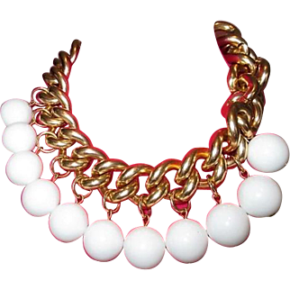 Vintage ERWIN PEARL Company Bold Beautiful Couture Gumball Drop Necklace