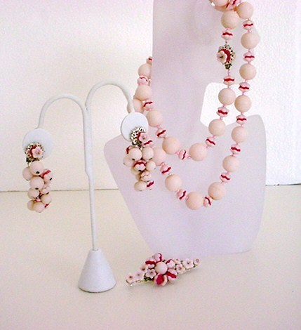 Vintage signed MIRIAM HASKELL pink necklace brooch earrings