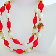 Vintage Signed MIRIAM HASKELL Bright Orange Necklace