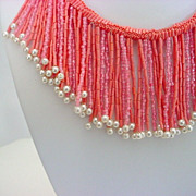Dramatic Vintage CORAL Glass Simulatd Pearl Bib Collar Necklace