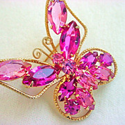Pink JULIANA Butterfly Brooch Vintage Beauty