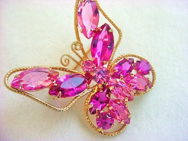 Pink JULIANA Butterfly Brooch Vintage Beauty