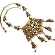 Signed GOLDETTE amethyst bib necklace.