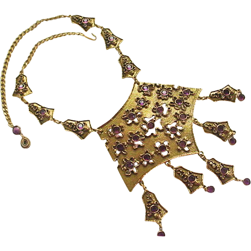 Signed GOLDETTE amethyst bib necklace.