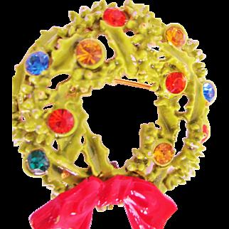 Vintage Signed ART Enamel Multi Color Rhinestones Christmas Wreath Brooch Colorful