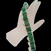 Vintage unsigned WEINBERG NEW YORK Green Glass and Rhinestone Bracelet