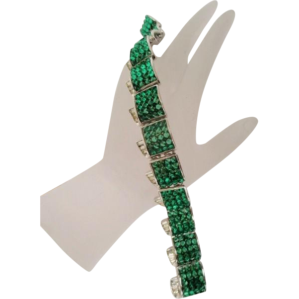 Vintage unsigned WEINBERG NEW YORK Green Glass and Rhinestone Bracelet